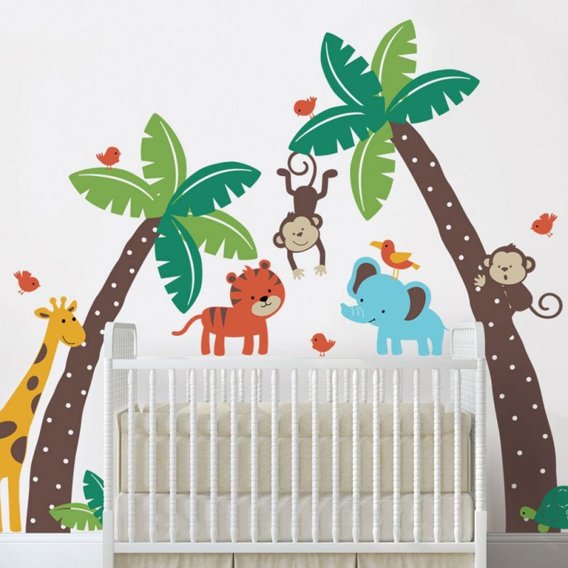 Palm Trees with Cute Jungle Animals Wall Decal - Scheme A