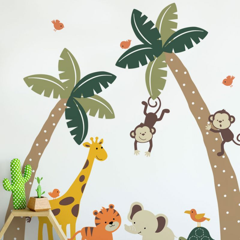 Palm Trees with Cute Jungle Animals Wall Decal