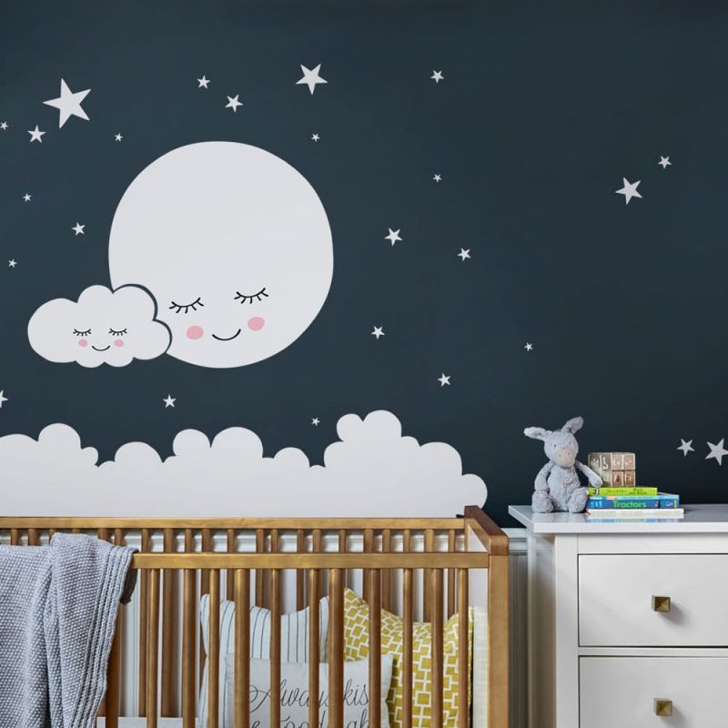 Moon Cloud and Stars Wall Decal - White