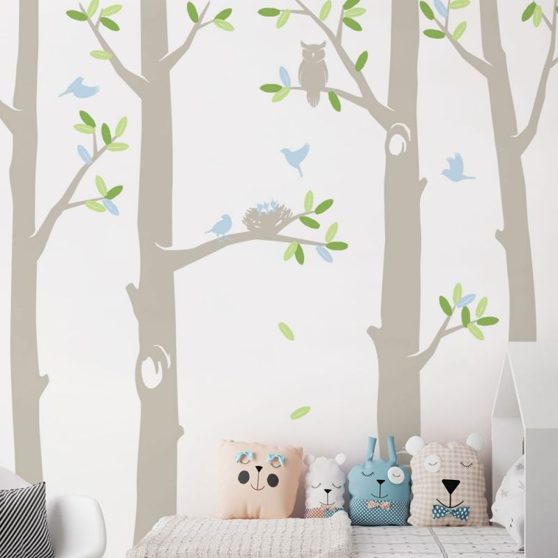 Nature Tree Scene with Baby Birds and Nest Wall Decal - Scheme A