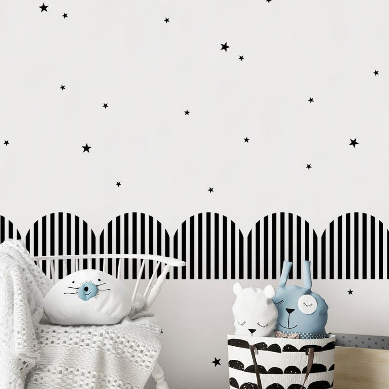 Striped Ribbons Wall Decal - Black