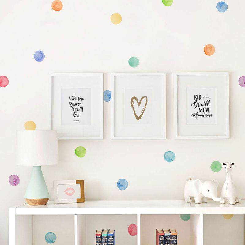 Watercolor Dot Wall Stickers - Rainbow
