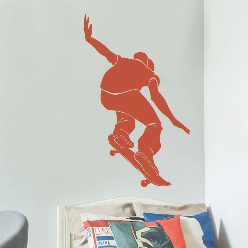 Sports Silhouette Wall Decal, Sports Wall Decal- Skateboard