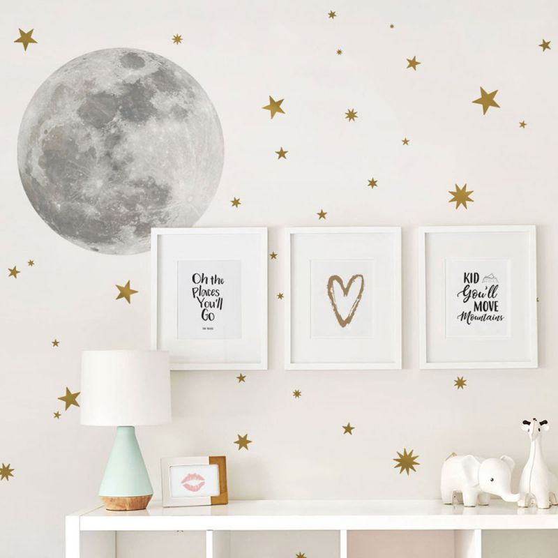 Moon and Stars Wall Decal/Sticker - Gold