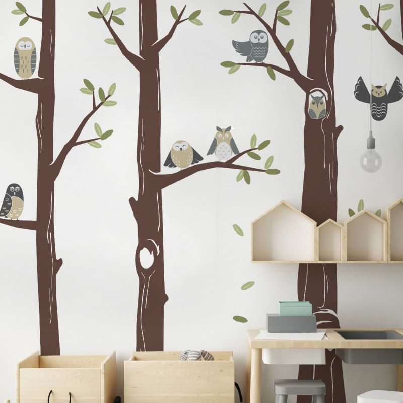 Friendly Forest Owls with Trees Wall Decal - Scheme A