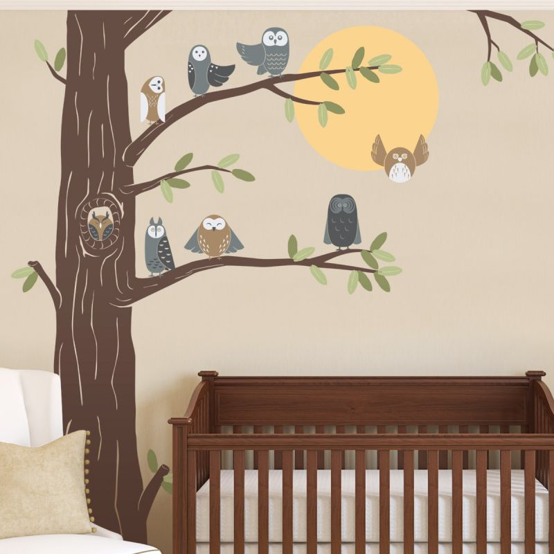 Friendly Forest Owls with Corner Tree - Scheme A