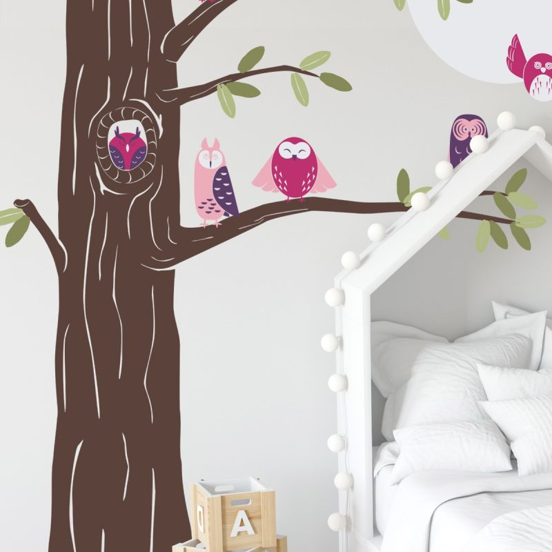 Friendly Forest Owls with Corner Tree Wall Decal- Scheme B