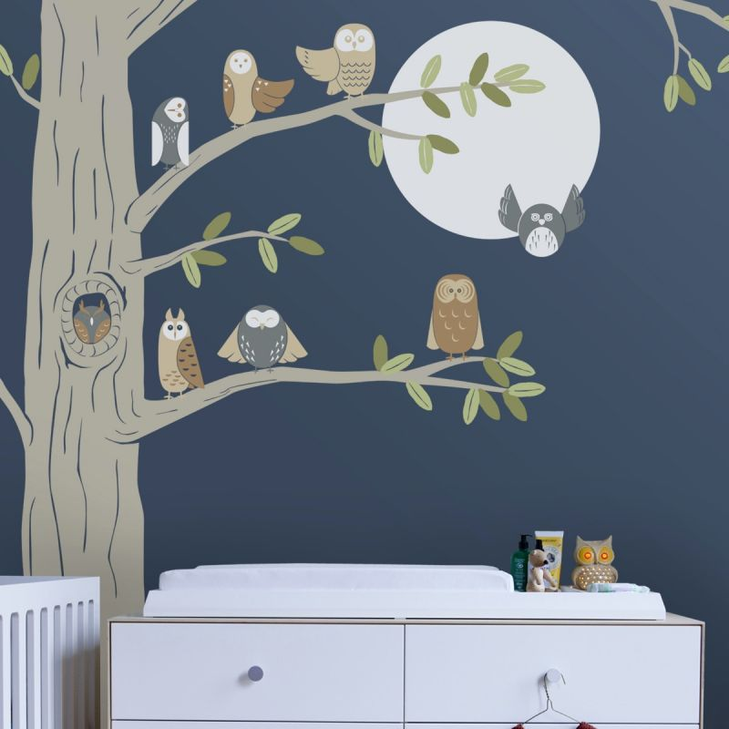 Friendly Forest Owls with Corner Tree Wall Decal- Scheme C