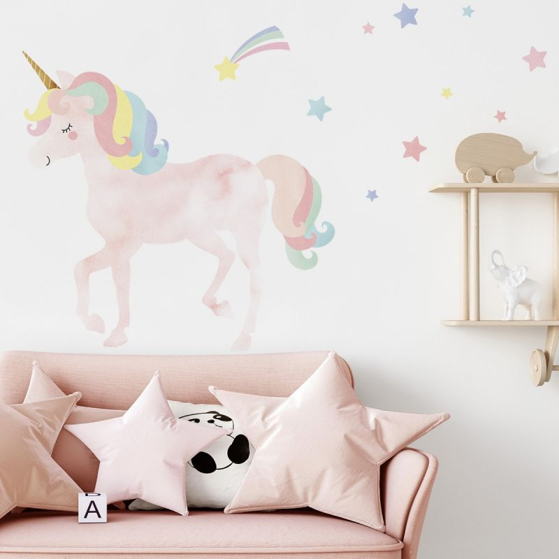 Watercolor Twinkling Unicorn with Stars Peel and Stick Wall Sticker