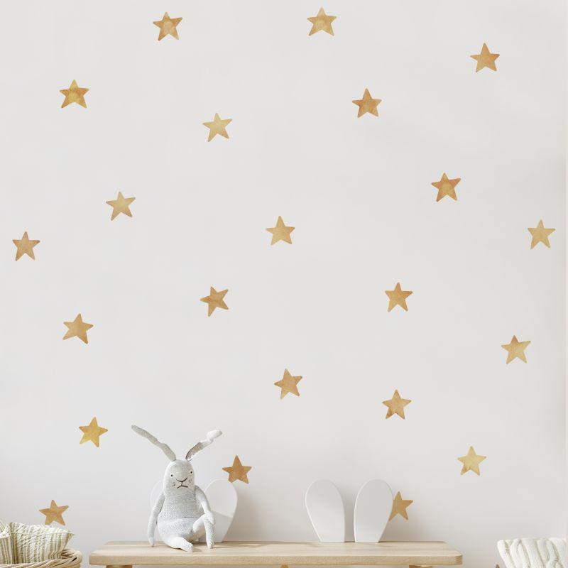 Watercolor Stars Wall Stickers - Gold