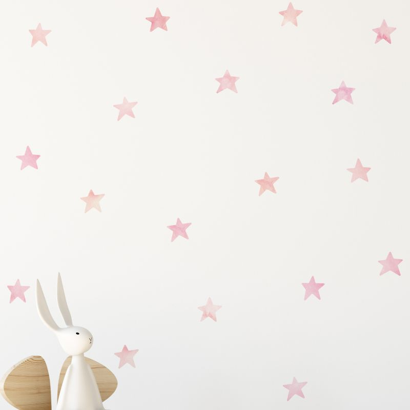 Watercolor Stars Wall Stickers - Pink Coral