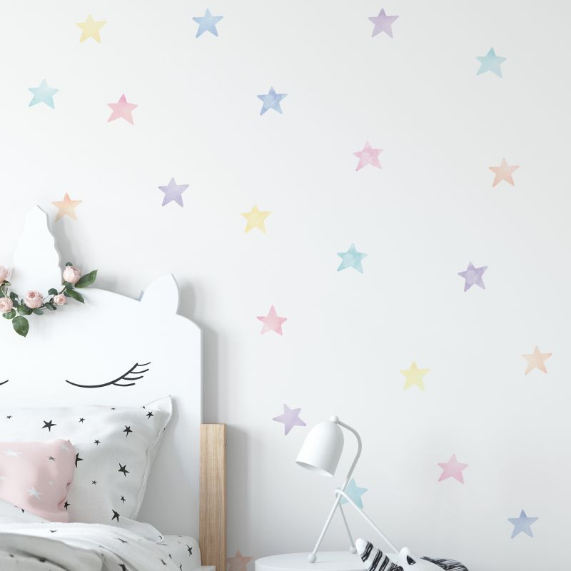 Watercolor Stars Wall Stickers - Pastel