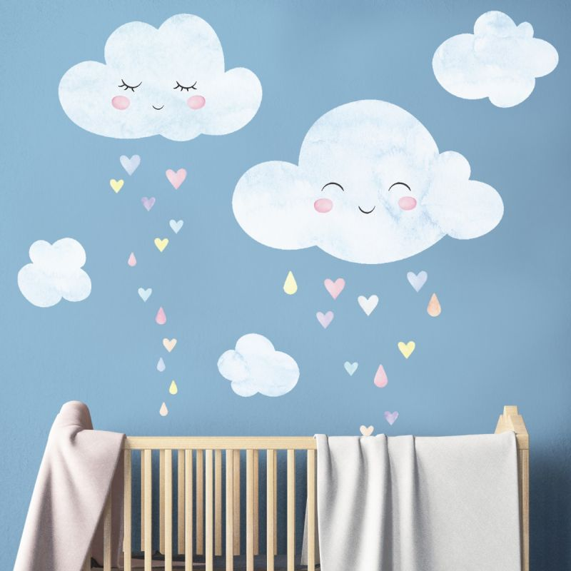 Watercolor Clouds with Heart Rain - Peel and Stick - Wall Stickers