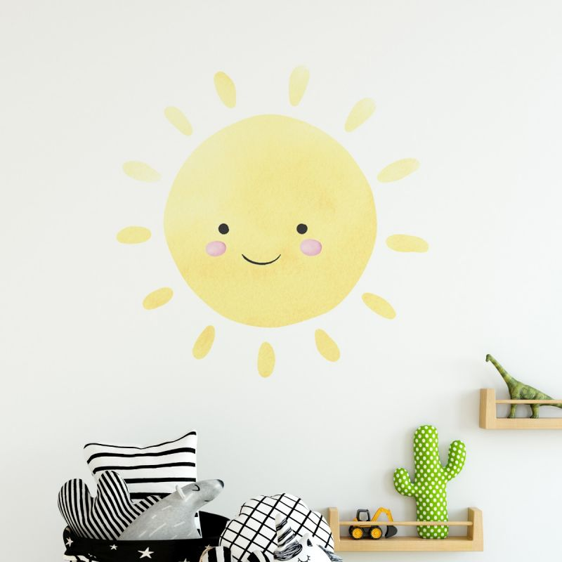 Watercolor Happy Sun - Peel and Stick - Wall Sticker