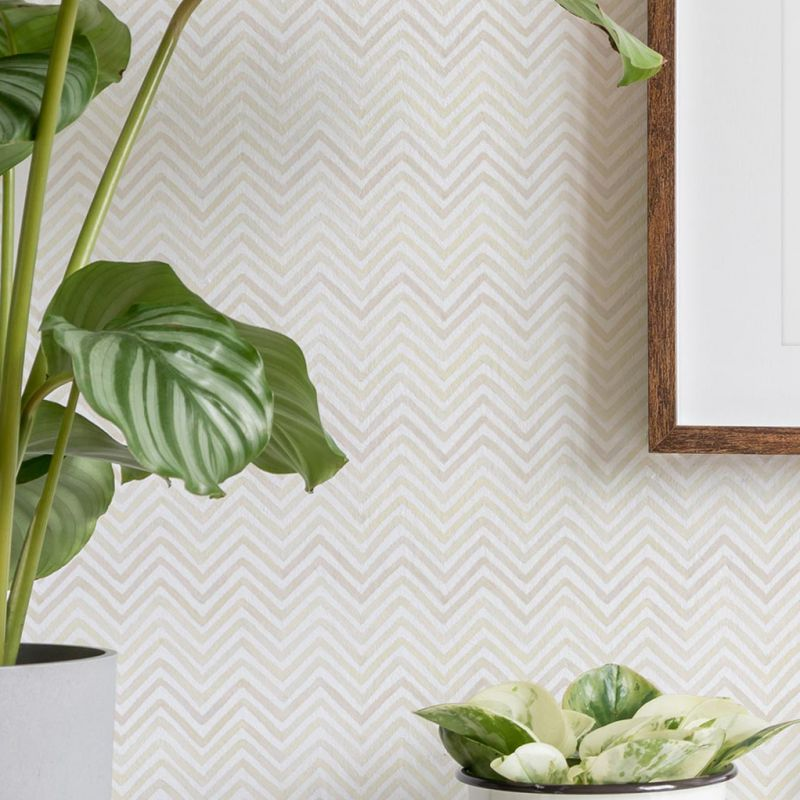 Watercolor Chevron Peel and Stick Wallpaper - Grey