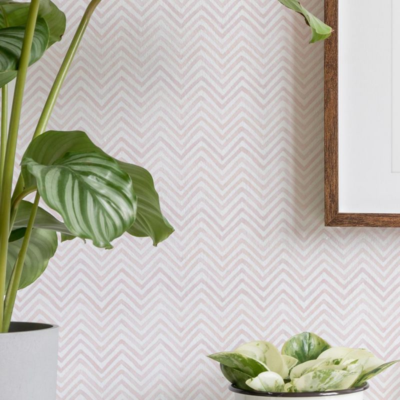 Watercolor Chevron Peel and Stick Wallpaper - Pale Pink