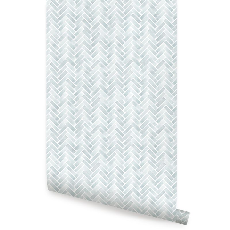 Watercolor Herringbone Peel and Stick Wallpaper - Misty Blue