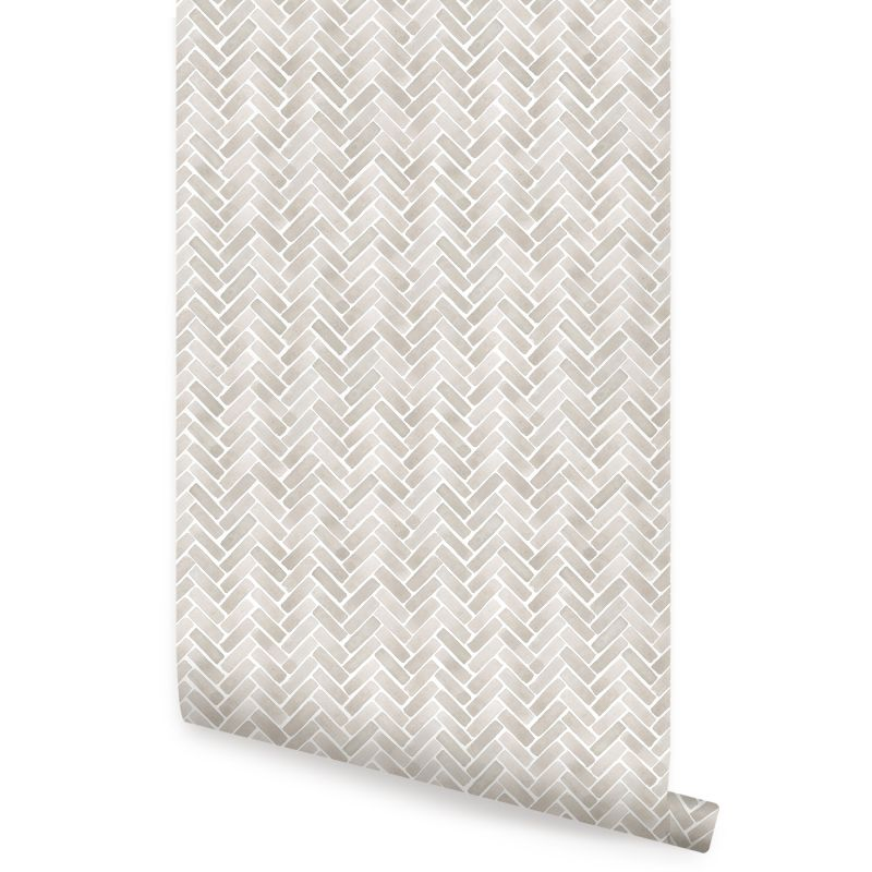Watercolor Herringbone Peel and Stick Wallpaper - Beige Grey