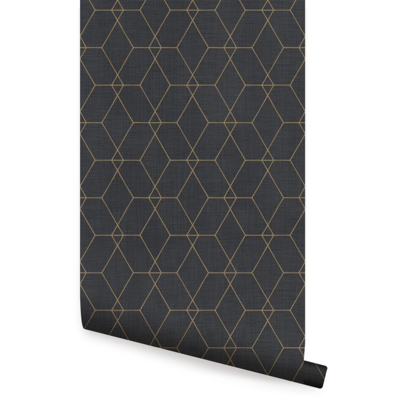 Hexagon Geometric Art Deco Lines - Ebony