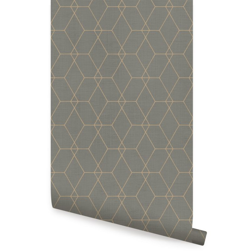 Hexagon Geometric Art Deco Lines - Dark Olive