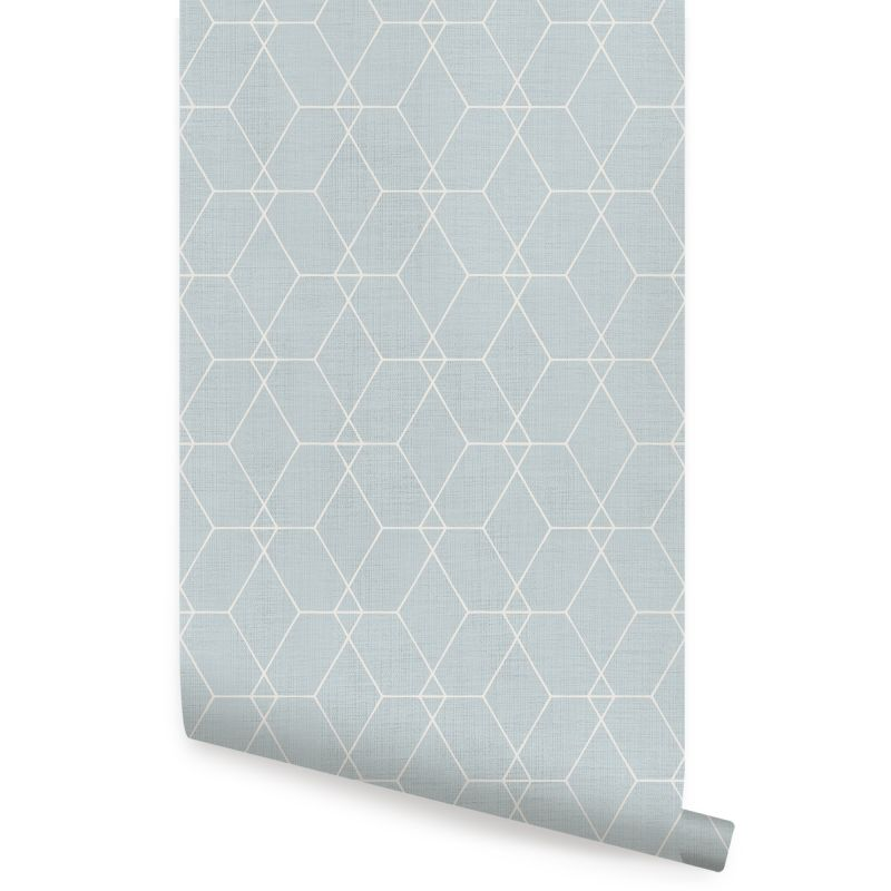 Hexagon Geometric Art Deco Lines - Light Blue