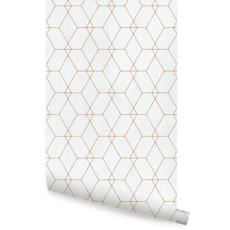 Hexagon Geometric Art Deco Lines - Off White