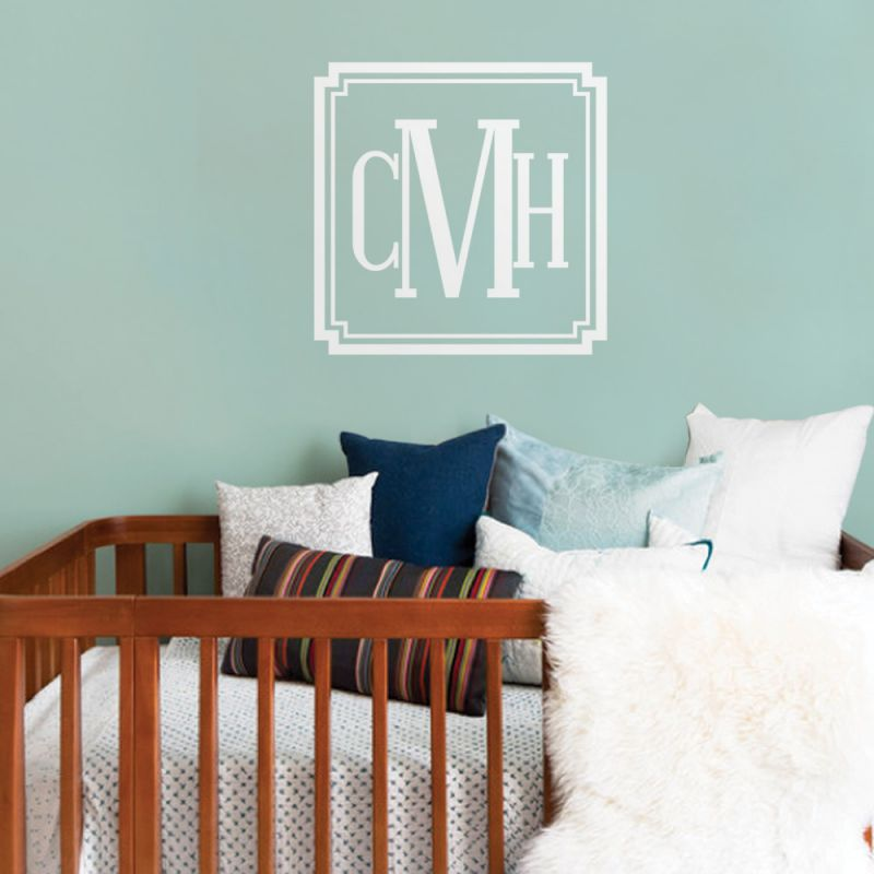Personalized Monogram Name Lettering Wall Decal - Scheme A
