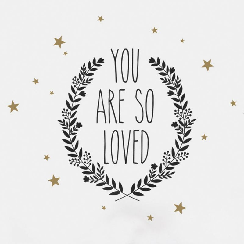 You Are So Loved Quote Wall Decal - Black and Gold