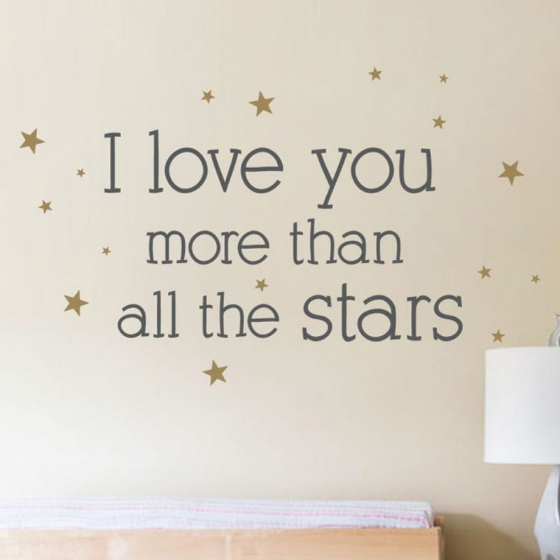 I Love You More Than All The Stars Quote Wall Decal - Charcoal Grey and Gold