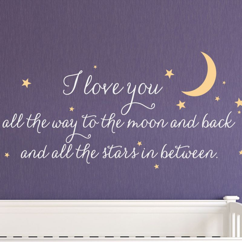 I Love You Quote Wall Decal - White and Maize
