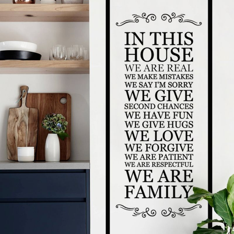 In This House Wall Decal - Style A, Black