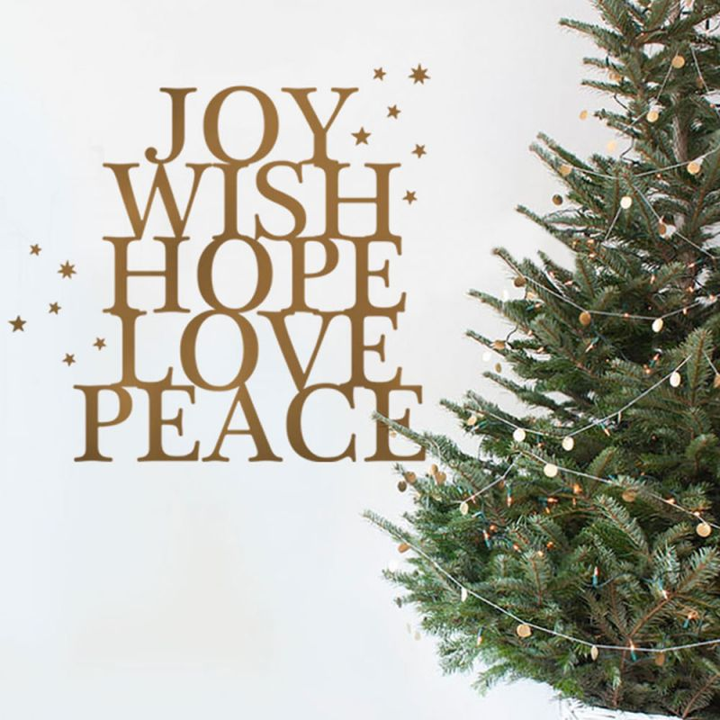 Winter Joy Wish Hope Wall Decal - Gold