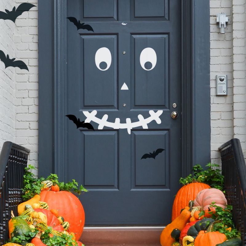 Halloween Face Wall Decal - Style A, White