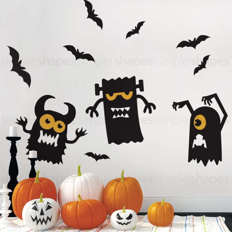 Monster and Bats Halloween Decorations