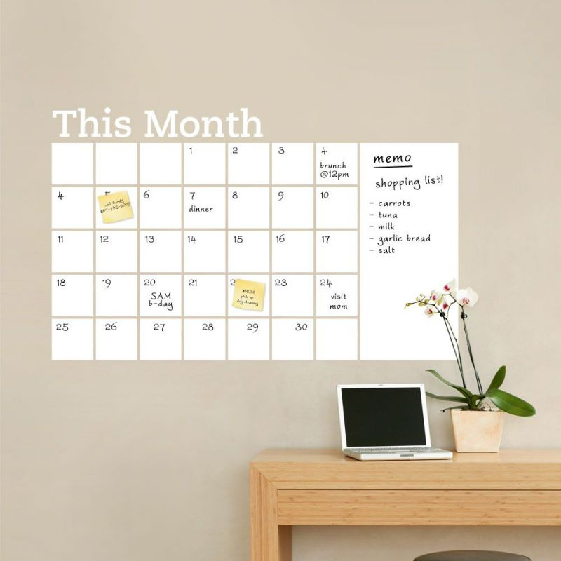 Monthly Calendar with Memo Wall Decal - Dry Erase