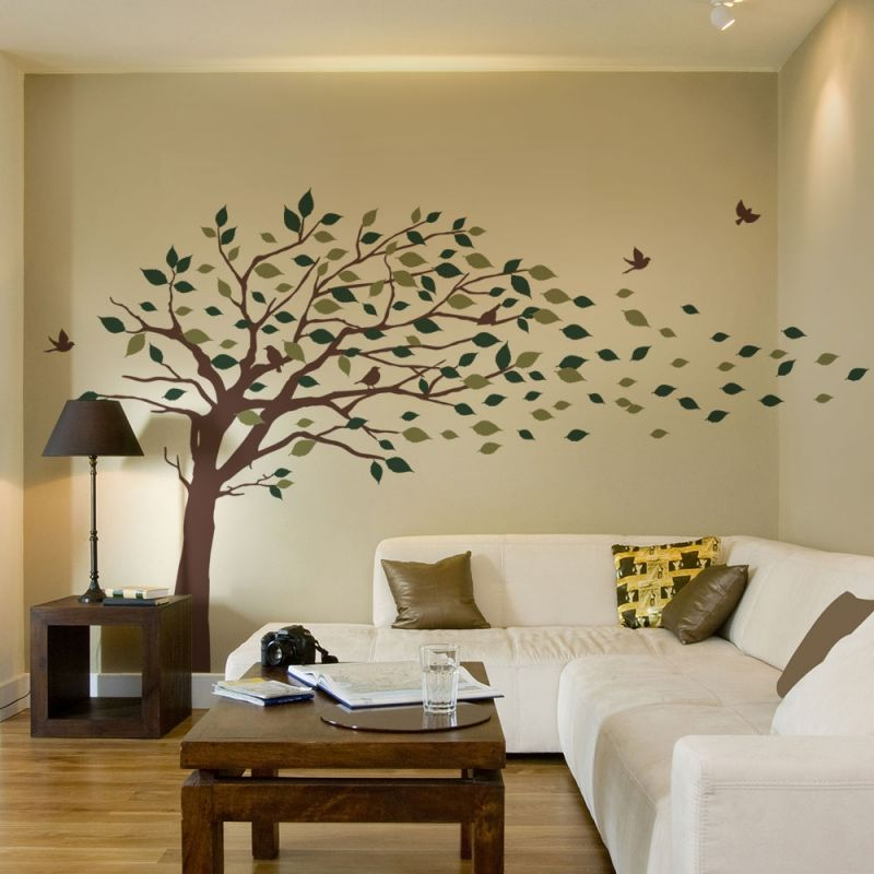 Blowing Leaves Tree Wall Decal - Scheme A