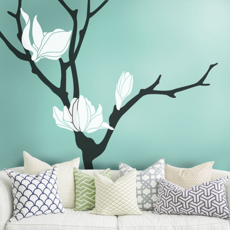 Magnolia Flower Tree Wall Decal - Scheme A