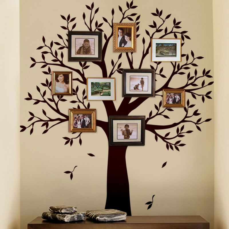 Narrow Family Tree Wall Decal - Chestnut Brown