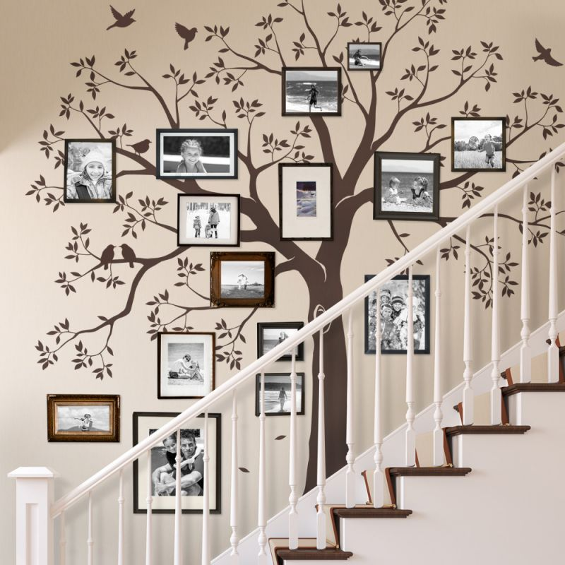 Staircase Family Tree Wall Decal - Chestnut Brown