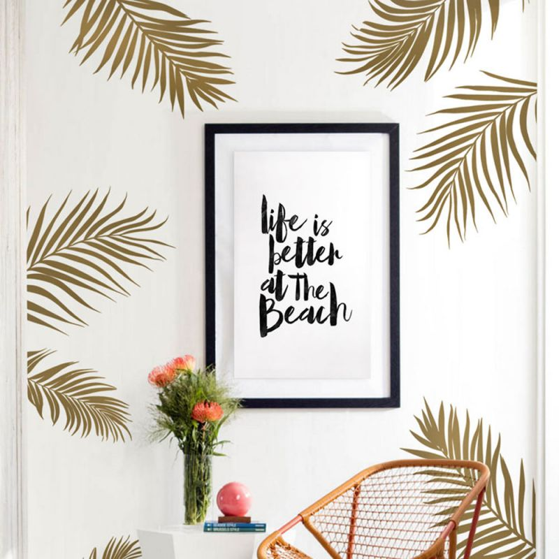 Palm Leaves Wall Decal - Gold