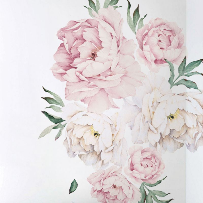 Peony Flowers Wall Sticker - Vintage Pink