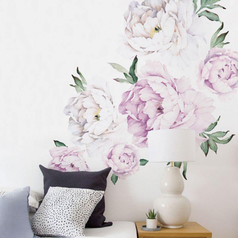 Vintage Lilac Peony Flowers Wall Sticker