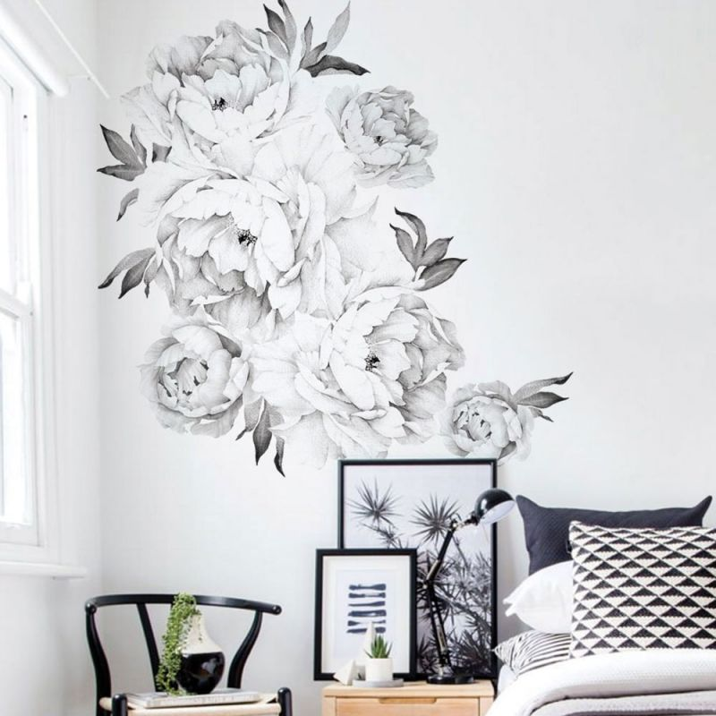Black and White Peony Flowers Wall Sticker