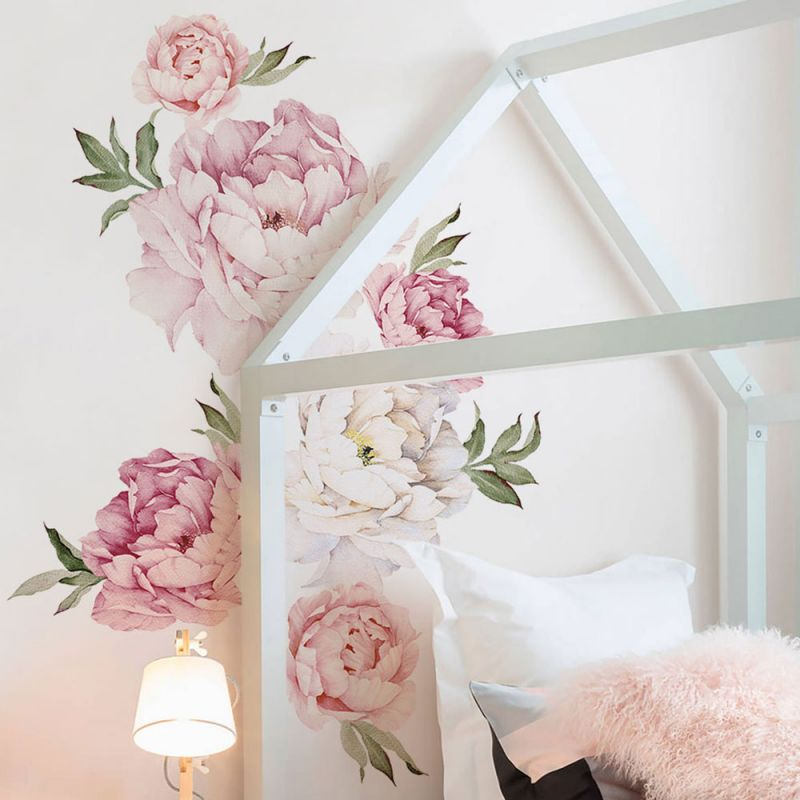 Mixed Pink Peony Flowers Wall Sticker