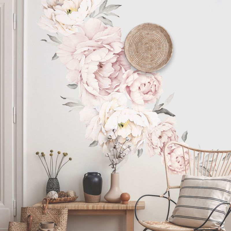 Grey Washed Pink Peony Flowers Wall Sticker