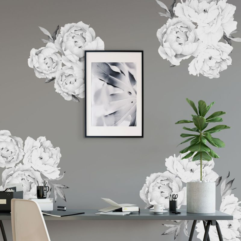 Black and White Large Peony Flowers Wall Sticker
