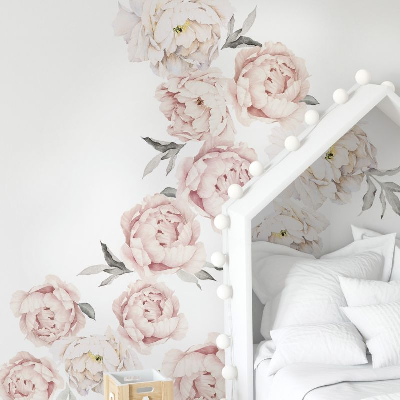 Large Peony Flowers Wall Sticker - Grey Washed Pink