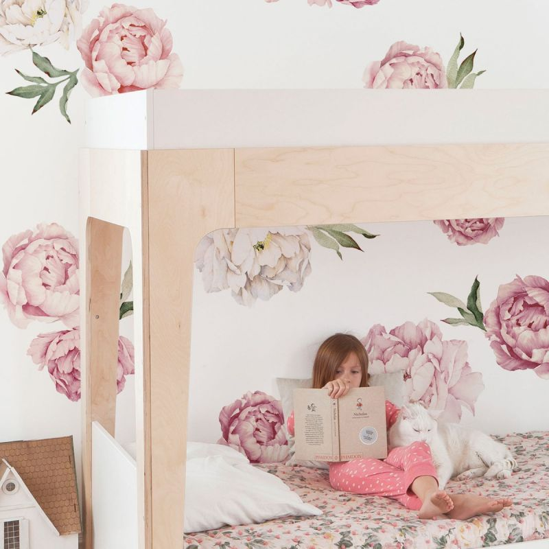 Mixed Pink Large Peony Flowers Wall Sticker