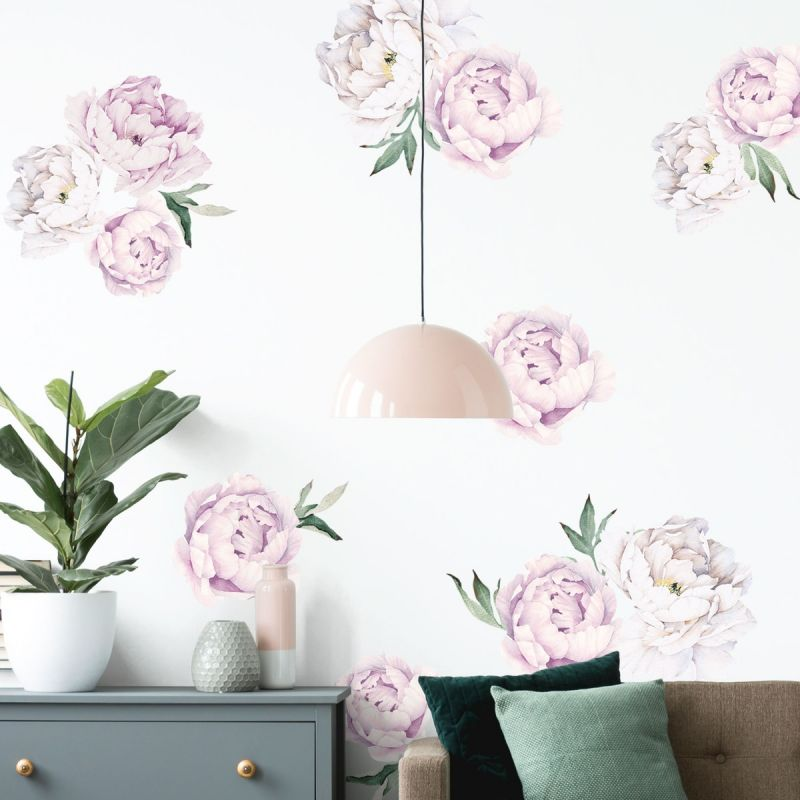 Vintage Lilac Large Peony Flowers Wall Sticker