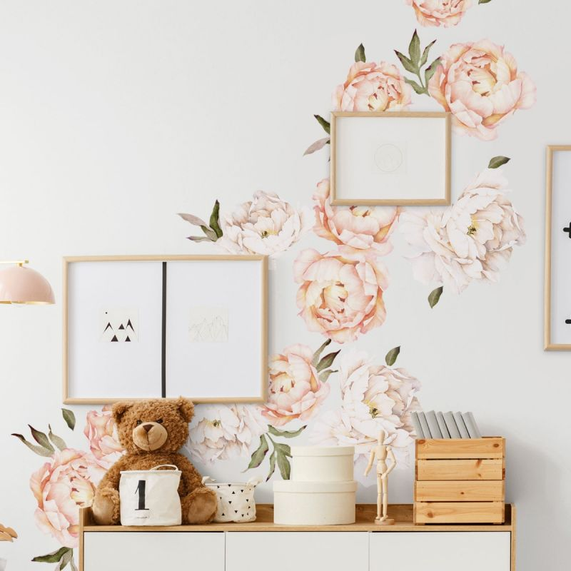 Vintage Peach Large Peony Flowers Wall Sticker